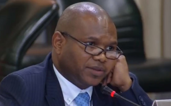 A screengrab of Parliament's former Advocate Ntuthuzelo Vanara leading evidence in the state capture probe into Eskom.