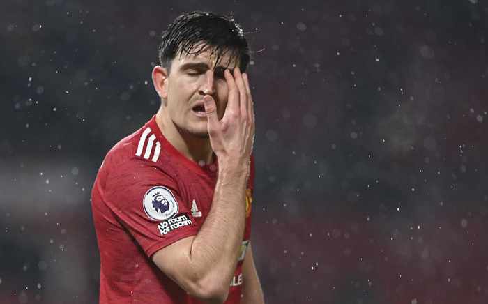 Manchester United defender Harry Maguire reacts during the English Premier League football match between Manchester United and Sheffield United at Old Trafford in Manchester, north west England, on 27 January 2021. Picture: Laurence Griffiths/AFP