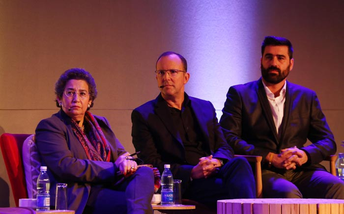Businesswomen Wendy Appelbaum, M&C Saatchi Abel chief executive Mike Abel, and Daily Maverick publisher and CEO Styli Charalambous at The Gathering - Media Edition in Cape Town on 3 August 2017. Picture: Bertram Malgas/EWN.