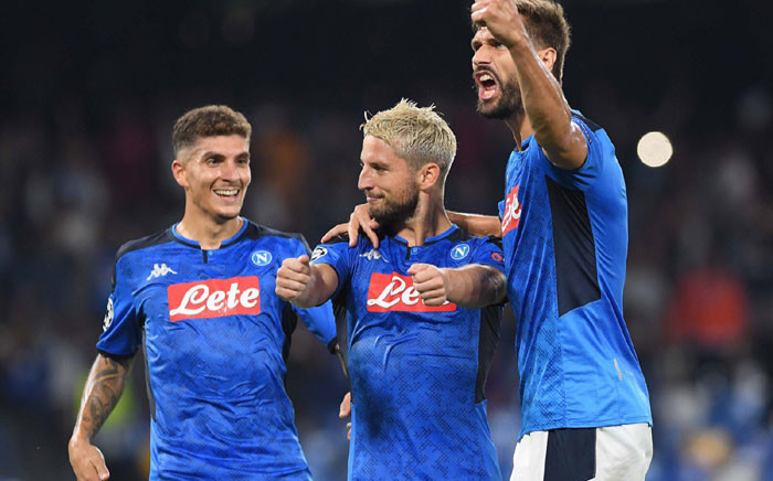 Napoli players celebrate a goal in their UEFA Champions League match against Liverpool on 17 September 2019. Picture: @en_sscnapoli/Twitter