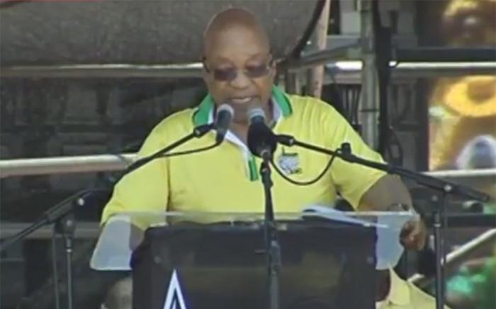 A screengrab picture showing President Jacob Zuma at the ANC 104th birthday celebration at Royal Bafokeng Stadium in Rustenburg on 9 January 2016.