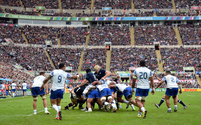 Scotland's lock Richie Gray (C) vies in a maul during a Pool B match of the 2015 Rugby World Cup between Scotland and Samoa at St James' Park in Newcastle-upon-Tyne, northeast England, on October 10, 2015. Picture: AFP.