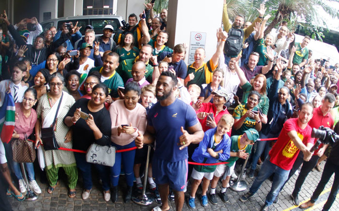 Springbok captain Siya Kolisi with fans in Durban during the side's victory tour on 8 November 2019. Picture: @Springboks/Twitter