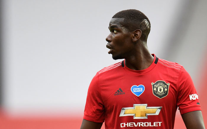 FILE: Manchester United midfielder Paul Pogba reacts during the English Premier League football match between Manchester United and Bournemouth at Old Trafford in Manchester, north west England, on 4 July 2020. Picture: AFP