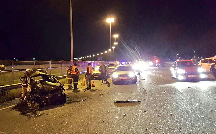 A bus collided with five vehicles on the N1 north near Zambezi Drive in Pretoria on 8 April 2016. Picture: @Netcare911_sa.