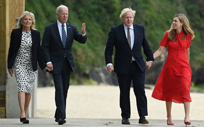 Britain's Prime Minister Boris Johnson (2R) and his wife Carrie Johnson (R) walk with US President Joe Biden and US First Lady Jill Biden prior to a bi-lateral meeting at Carbis Bay, Cornwall on 10 June 2021, ahead of the three-day G7 summit being held from 11-13 June. G7 leaders from Canada, France, Germany, Italy, Japan, the UK and the United States meet this weekend for the first time in nearly two years, for the three-day talks in Carbis Bay, Cornwall. Picture: Brendan SMIALOWSKI/AFP