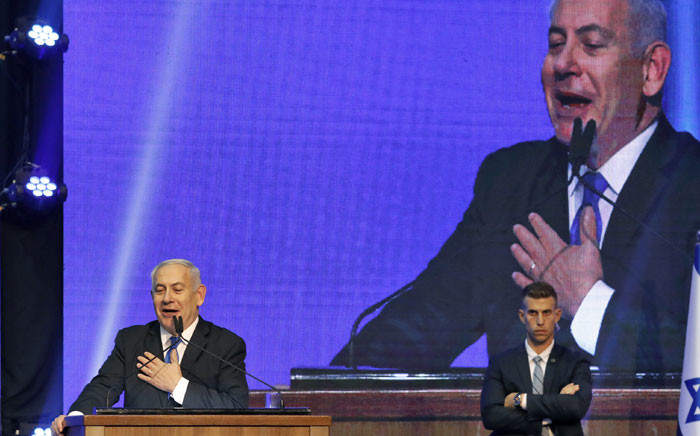 FILE: Israeli Prime Minister Benjamin Netanyahu addresses supporters at his Likud party's electoral campaign headquarters early on 18 September 2019. Picture: AFP