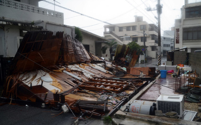 The dangerous typhoon battered Japan's Okinawa islands on Wednesday. Picture: AFP.