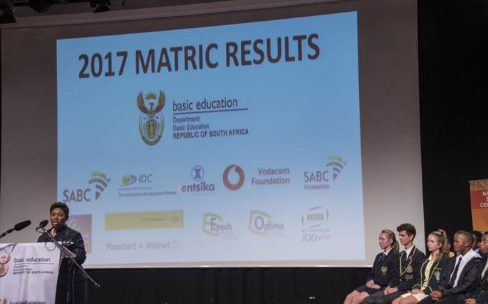 FILE: Minister of Basic Education Angie Motshekga delivers the results for the 2017 matric results. Picture: Ihsaan Haffejee/EWN.