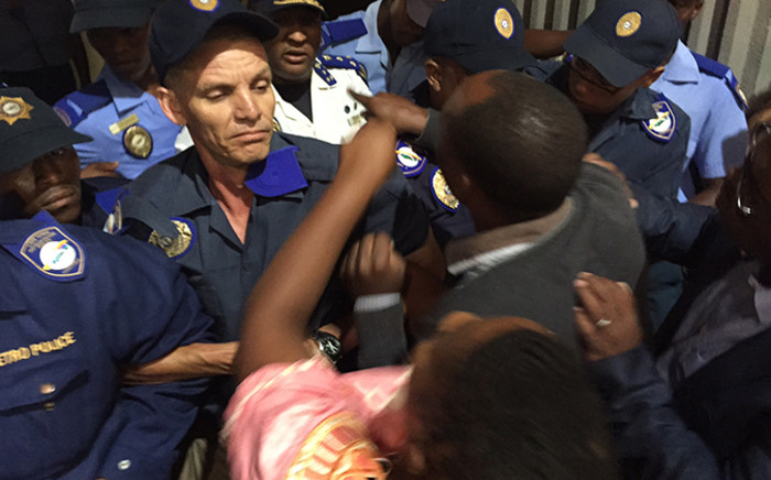 ANC councillors clash with police during a heated council meeting in Cape Town. Picture: Thomas Holder/EWN.