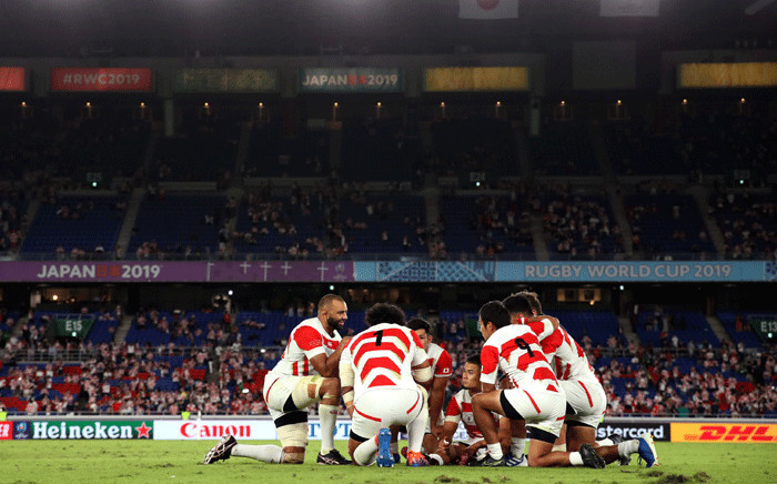 Japan team during a Rugby World Cup 2019 match. Picture: @rugbyworldcup/Twitter.