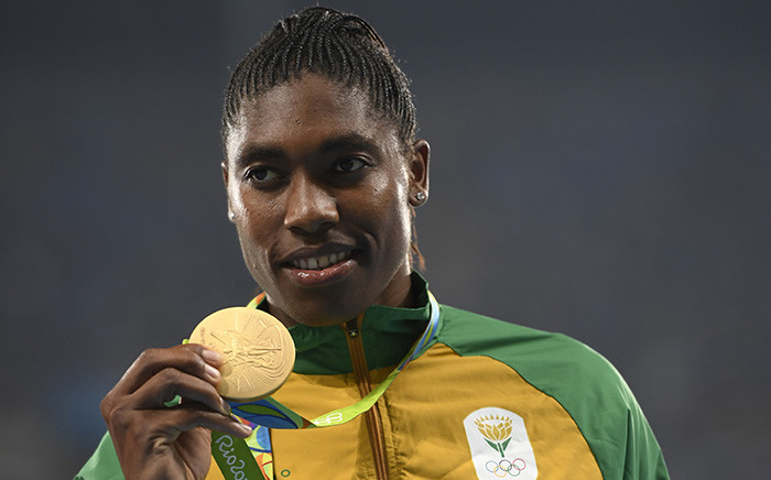Gold medallist Caster Semenya poses on the podium for the Women's 800m Final during the Rio 2016 Olympic Games.  Picture: AFP
