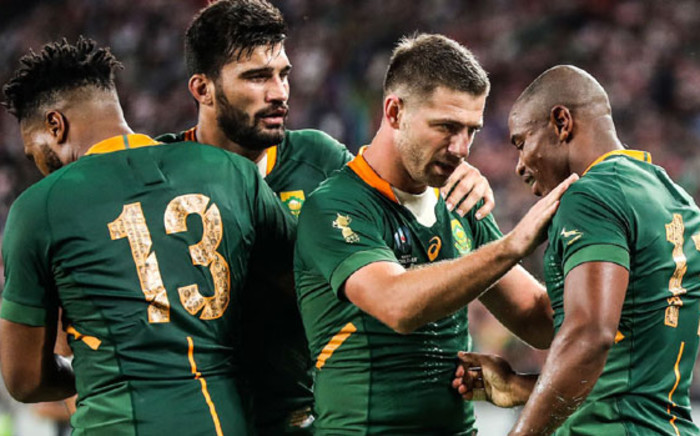 Springbok players celebrate a try. Picture: @Springboks/Twitter