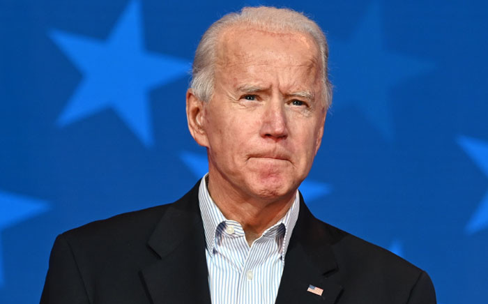 Democratic Presidential candidate Joe Biden looks on while speaking at the Queen venue in Wilmington, Delaware, on 5 November 2020. Picture: AFP.