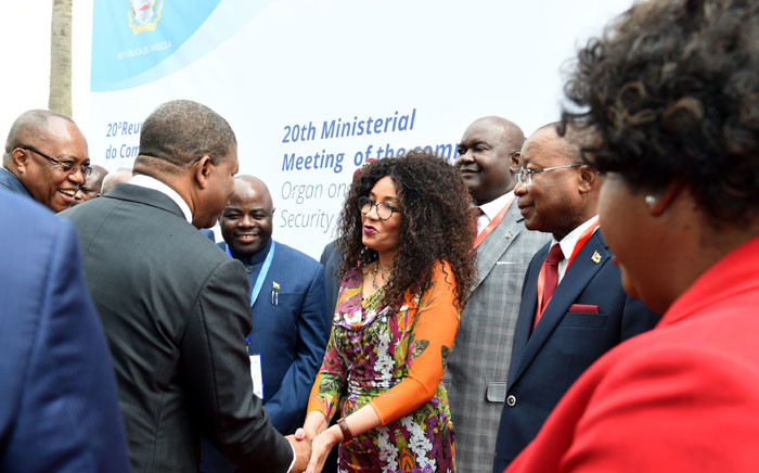 Minister of International Relations and Cooperation, Ms Lindiwe Sisulu, greeting the Angolan President, Mr João Lourenço, at the 20th Meeting of the SADC Ministerial Committee of the Organ (MCO) on Politics, Defence and Security Cooperation, in Luanda. Picture: Dirco.