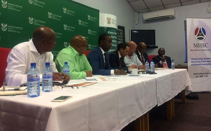Mineral Resources Minister Mosebenzi Zwane address media at Harmony Gold Mine in Randfontein on 19 January, 2017. Picture: Masa Kekana/EWN