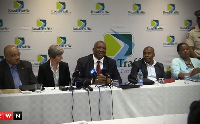 FILE: Road Traffic Management Corporation (RTMC) CEO Makhosini Msibi (C). Picture: Kgothatso Mogale/EWN.