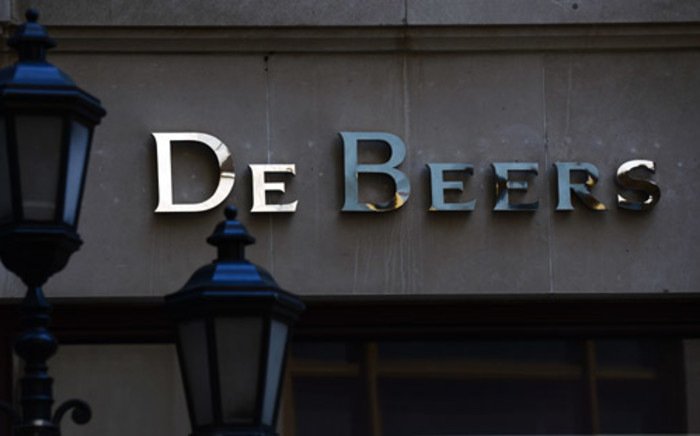 FILE: A logo of the world's leading diamond company De Beers is seen is seen in New York, June 20, 2013. Picture: AFP.