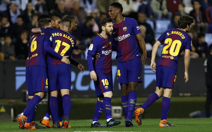 Barcelona players embrace after the 2-2 draw against Celta Vigo on 17 April 2018. Picture: @FCBarcelona/Twitter
