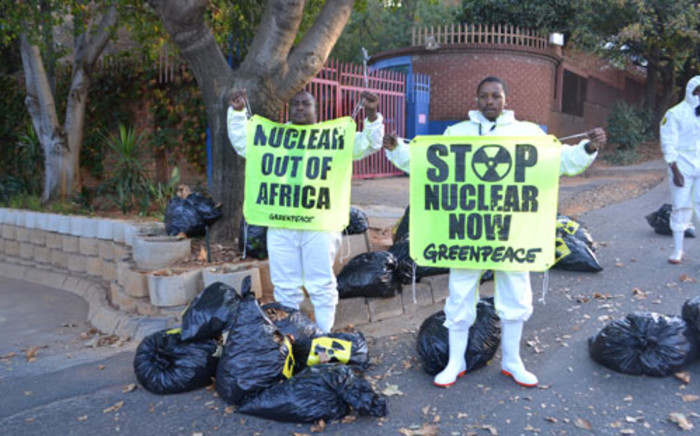 Greenpeace anti-nuclear demonstrators protest outside the Industrial Development Corporation in Sandton. Picture: Tshepo Lesole/EWN