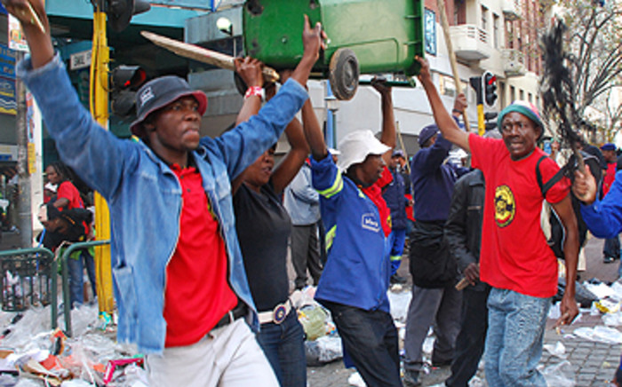 Members of the South African Municipal Workers' Union during a nationwide strike. Picture: Eyewitness News