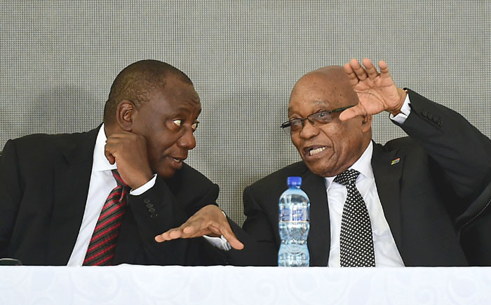 FILE: Deputy President Cyril Ramaphosa (left) and President Jacob Zuma having a discussion at an event. Picture: GCIS
