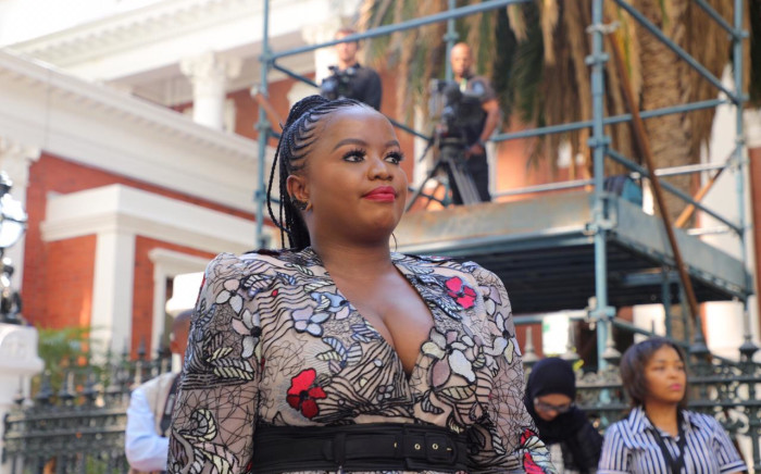 DA MP Phumzile Van Damme arrives on the red carpet outside Parliament for the 2020 State of the Nation Address. Picture: Kayleen Morgan/EWN