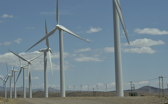FILE: A picture taken on 6 August 2019 shows wind turbines at the Lake Turkana Wind Power, in Loiyangalani District, in Marsabit County, approximately 545 kilometres north of Nairobi. Picture: AFP