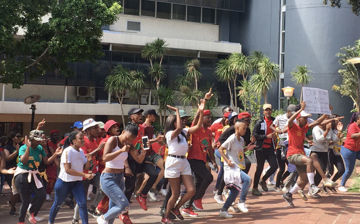Protesting CPUT students make their from the university's District Six campus to Parliament in Cape Town on 12 March 2020. Picture: Jarita Kassen/EWN.