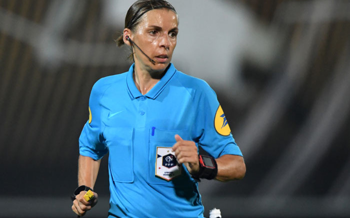 In this file photo taken on 24 August 2019 French referee Stephanie Frappart looks on during the French L1 Football match between SCO Angers and FC Metz at the Raymond-Kopa Stadium, in Angers, northwestern France. Picture: AFP