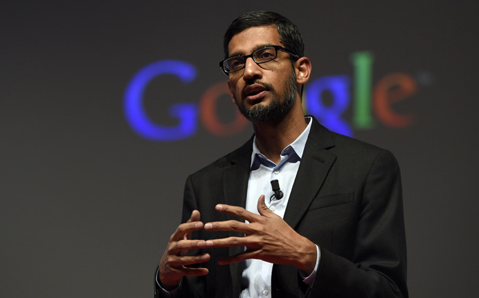 Google's Senior Vice President Sundar Pichai giving a keynote address during the opening day of the 2015 Mobile World Congress (MWC) in Barcelona, Spain. Google unveiled a new corporate structure 10 August, 2015. Picture: AFP