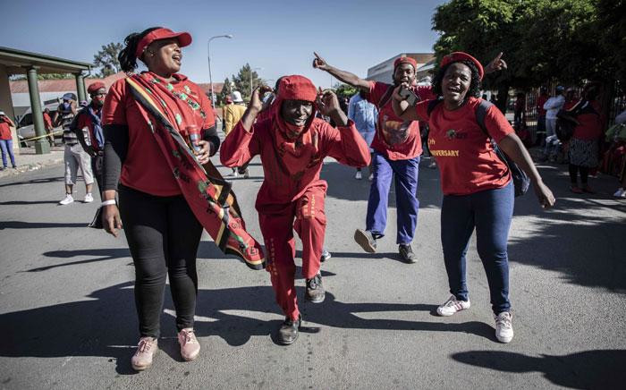 EFF members protest outside Senekal Magistrates Court on 16 October 2020. Picture: Abigail Javier/EWN