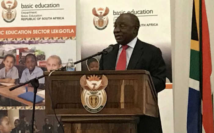 President Cyril Ramaphosa speaking at the Basic Education Sector Lekgotla at in Johannesburg on 21 January 2019. Picture: @PresidencyZA/Twitter