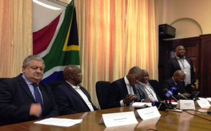 Opposition Members of Parliament speak to the media on National Assembly Speaker Baleka Mbete. Picture: Gaye Daivs/EWN.