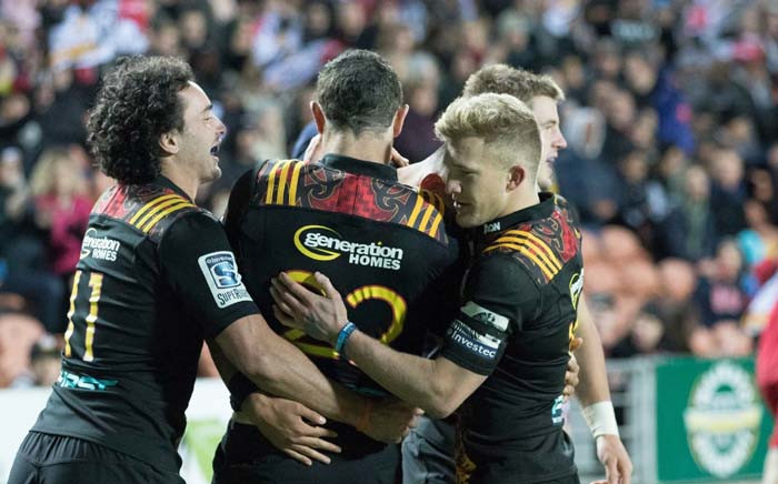 Some of the Chiefs players celebrate their Super Rugby victory against Stormers at Newlands. Picture: Twitter/@ChiefsRugby.