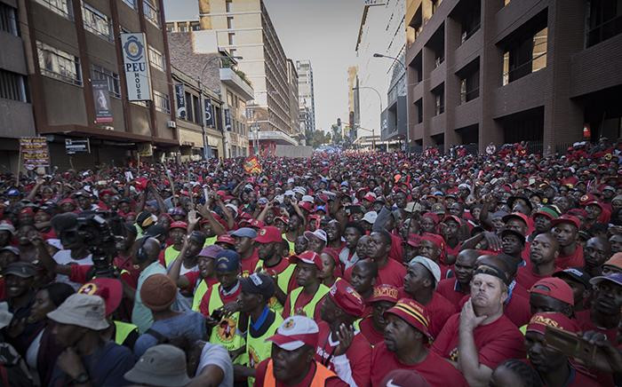 Saftu workers protest in the Johannesburg CBD on 25 April 2018. Picture: Sethembiso Zulu/EWN