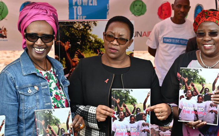 UNAIDS executive director Winnie Byanyima (left) at the launch of the new UNAIDS report, 'Power to the People'. Picture: Twitter/@UNAIDS