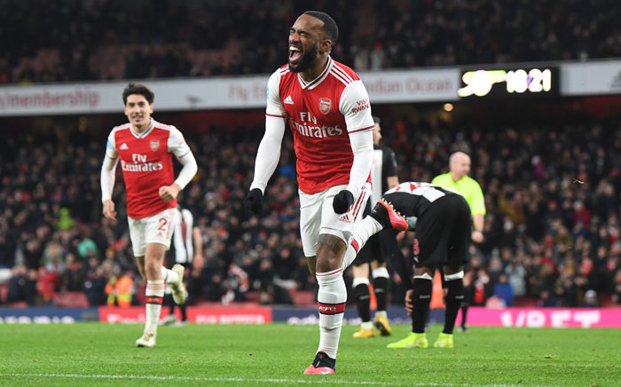 Arsenal's Alexandre Lacazette celebrates his goal. Picture: @Arsenal/Twitter
