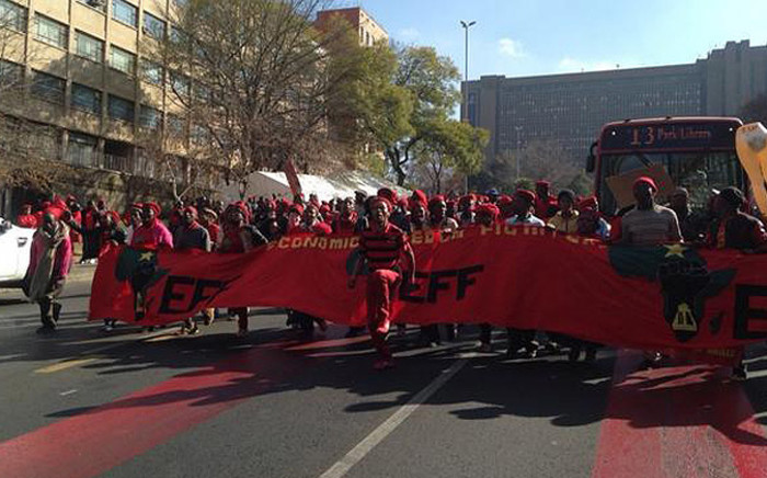 EFF members gather on Rissik Street in Johannesburg CBD to march to Gauteng Provincial Legislature on 22 July 2014. Picture: Masego rahlaga/EWN.