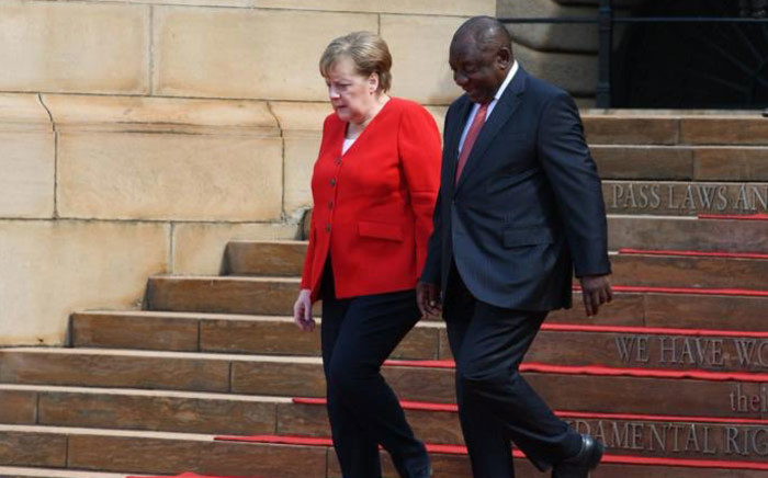 German Chancellor Angela Merkel and President Cyril Ramphosa at the Union Buildings in Pretoria on 6 February 2020. Picture: @PresidencyZA/Twitter