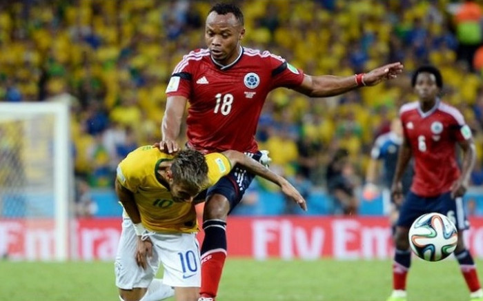 Colombia's Camilo Zuniga clatters into Brazil's Neymar, fracturing a vertebra in Neymar's back and ruling the star forward out of the World Cup. Picture: Facebook.