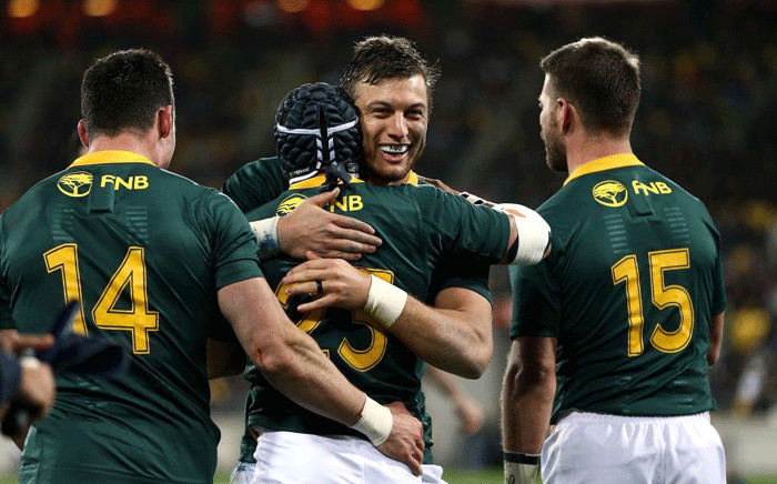 FILE: The Springboks celebrate their 36-34 win against the All Blacks. Picture: @CyrilRamaphosa/Twitter