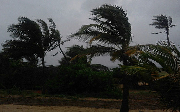 Strong winds and rain is seen in and around Inhambane, Mozambique as Cyclone Dineo move through the area. Picture: Supplied.