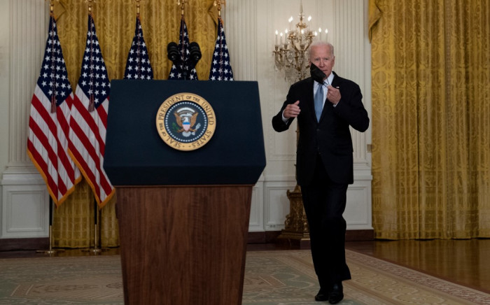 US President Joe Biden arrives to speak about the Taliban's takeover of Afghanistan from the East Room of the White House 16 August 2021, in Washington, DC. Picture: Brendan Smialowski/AFP