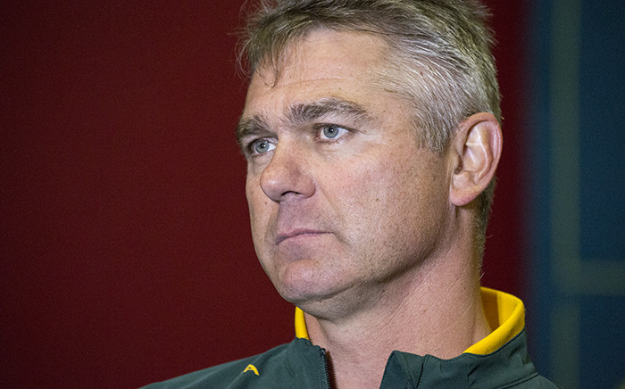 Springbok coach Heyneke Meyer addresses the media after a training session at Cape Town Stadium on 1 June 2015. Picture: Aletta Gardner/EWN.