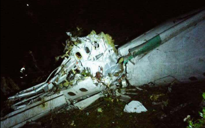 The wreckage of the plane which crashed in Colombia on 20 November 2016. Picture: @Teleantioquia