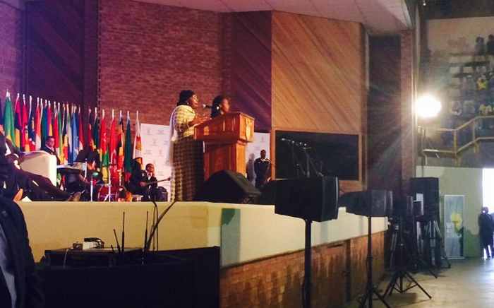 Nkosazana Dlamini-Zuma takes the podium. Talking about the role other African nations played in her life. Picture: Dineo Bendile/EWN.