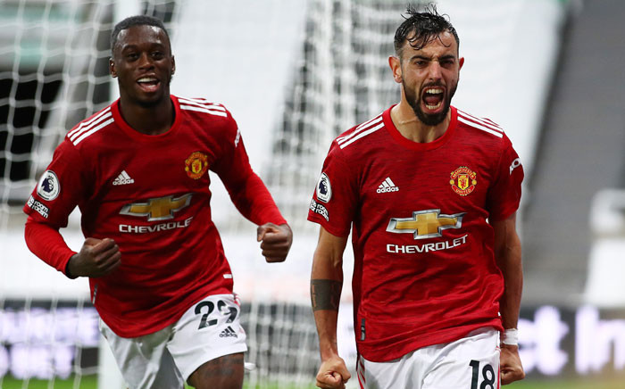 Manchester United's Bruno Fernandes (right) celebrates his goal against Newcastle United in their English Premier League match on 17 October 2020. Picture: @ManUtd/Twitter