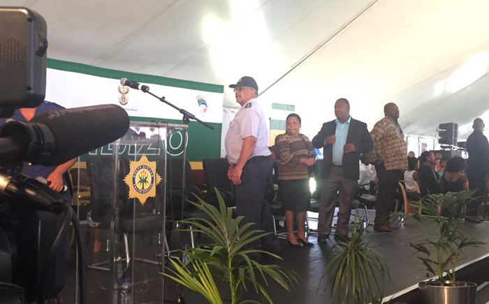 Deputy Minister of Police, Maggie Sotyu, Provincial Commissioner Arno Lamoer and Western Cape Community Safety MEC arriving ahead of the Police Imbizo on 13 April 2015. Picture: Siyabonga Sesant/EWN.