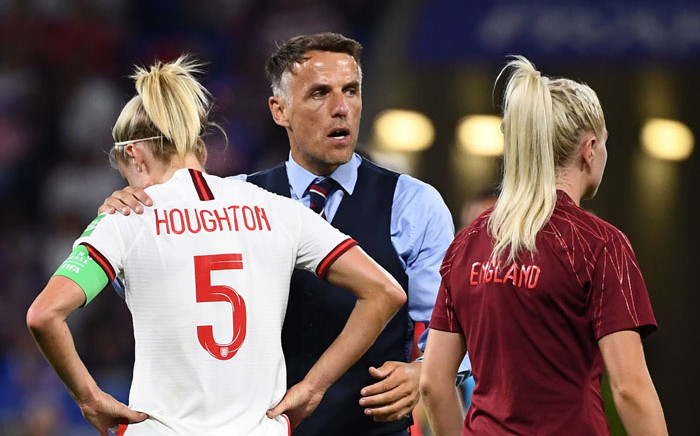 England's coach Phil Neville (C) reacts after losing the France 2019 Women's World Cup semi-final football match between England and USA, on 2 July 2019, at the Lyon Stadium in Decines-Charpieu, central-eastern France. Picture: AFP